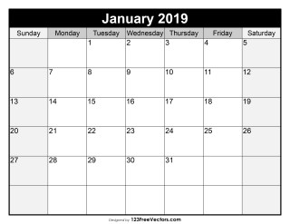 Blank January Calendar 2019