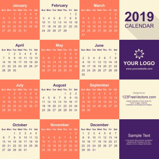 2019 Calendar Pdf Free Download