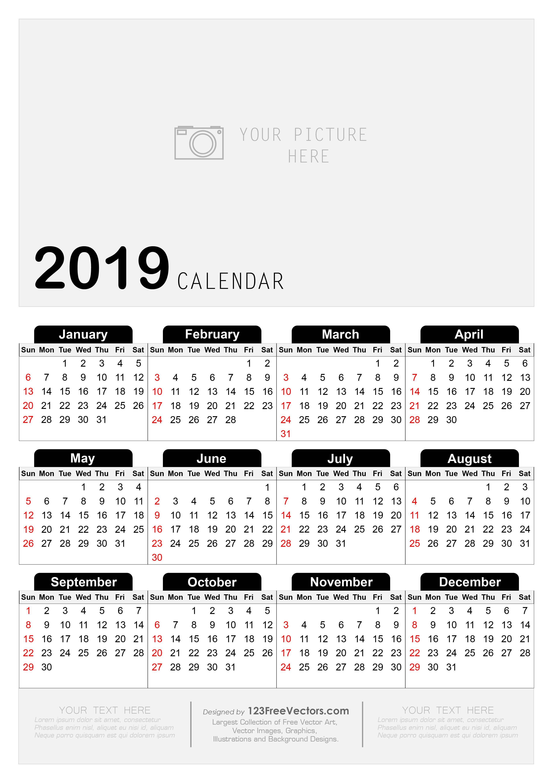 Calendario 2019 Illustrator.210 2019 Calendar Vectors Download Free Vector Art