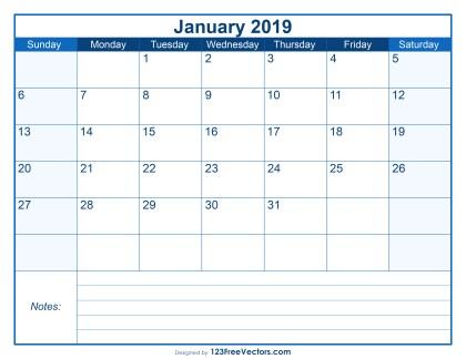 Blank Printable January Calendar 2019