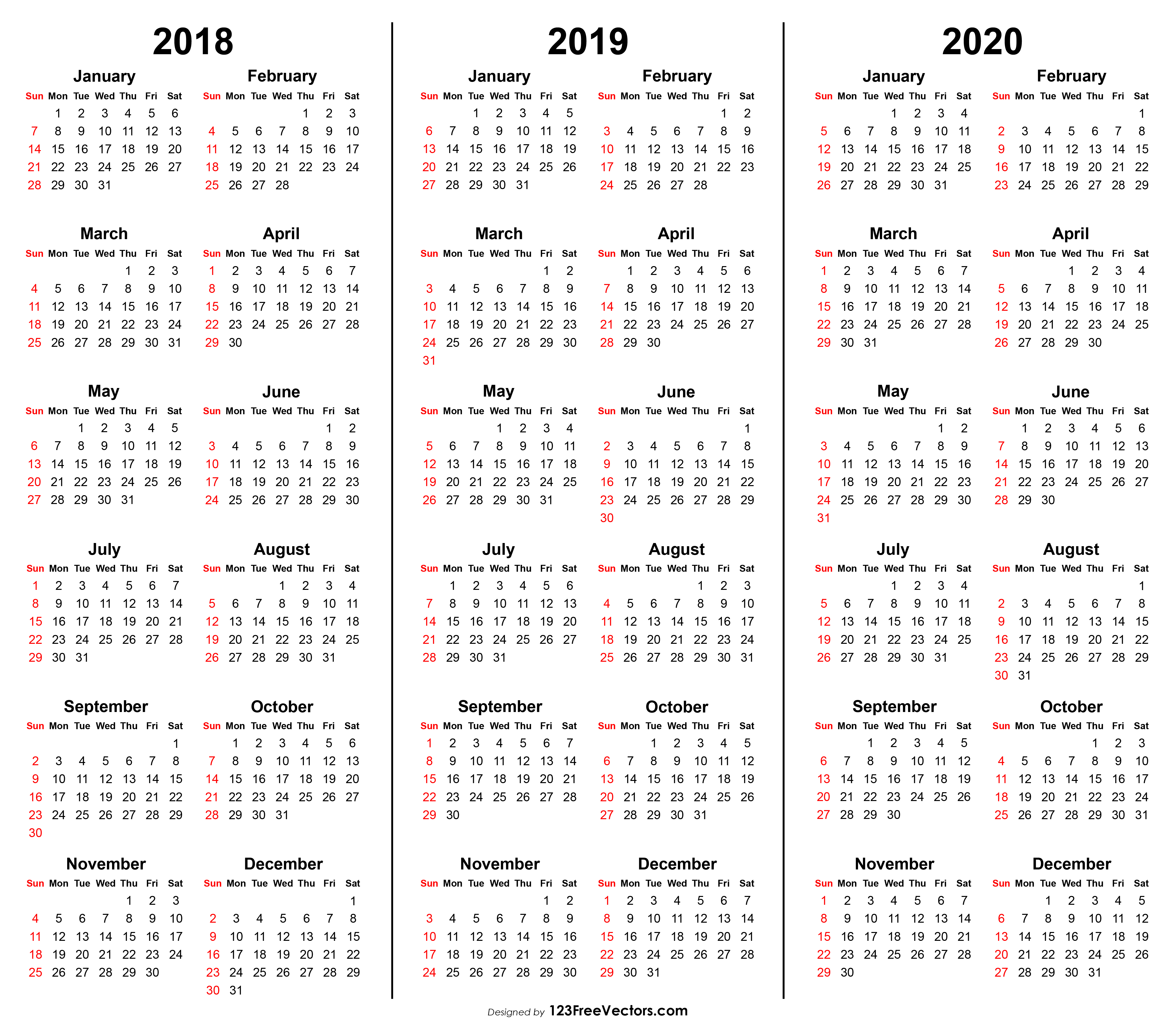 picture relating to 3 Year Calendar Printable known as 3 12 months Calendar 2018 2019 2020 Printable