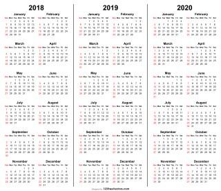 3 Year Calendar 2018 2019 2020 Printable