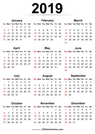 210+ 2019 Calendar Vectors | Download Free Vector Art & Graphics