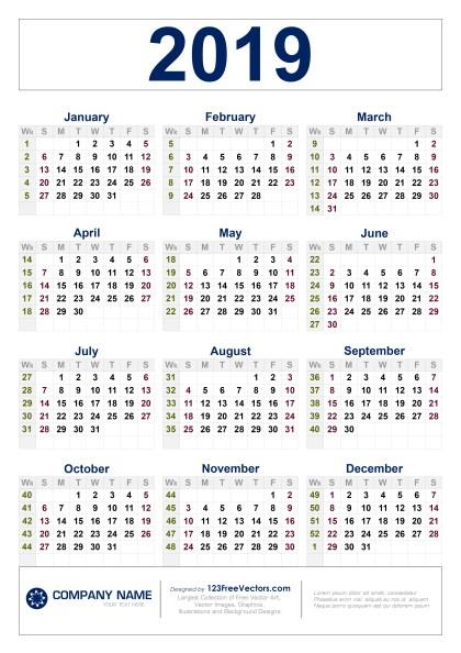 Free Download 2019 Calendar with Week Numbers