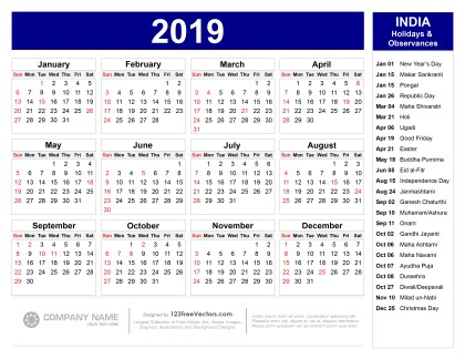 2019 Calendar with Indian Holidays Pdf
