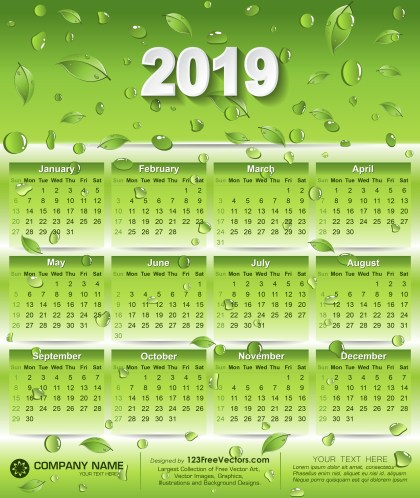 2019 Eco Green Calendar Design with Leaves and Water Drops