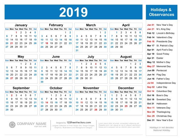 Free Printable 2019 Calendar with Holidays