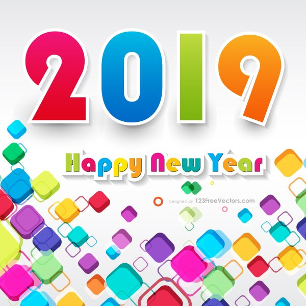 Colorful New Year Background 2019
