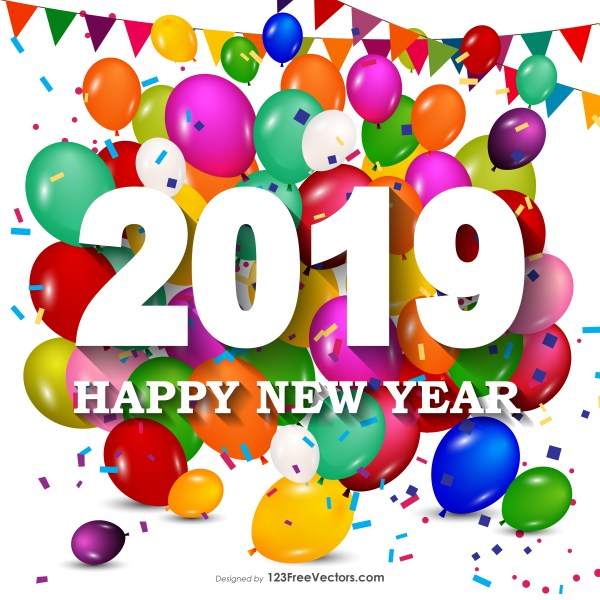 Happy New Year 2019 Colorful Balloons Background