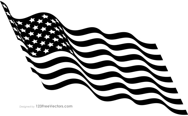 Black and White Waving American Flag