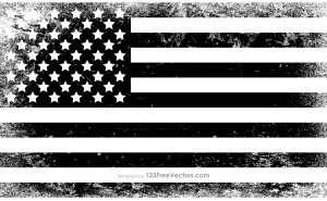 Black and White Distressed American Flag
