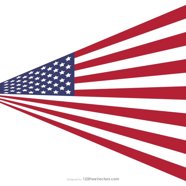 Perspective American Flag Vector