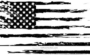 Black and White Grunge American Flag