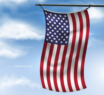 American Flag on Blue Sky Image