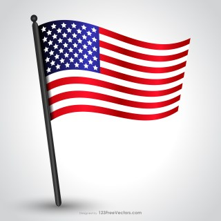 Waving American Flag on Pole Vector