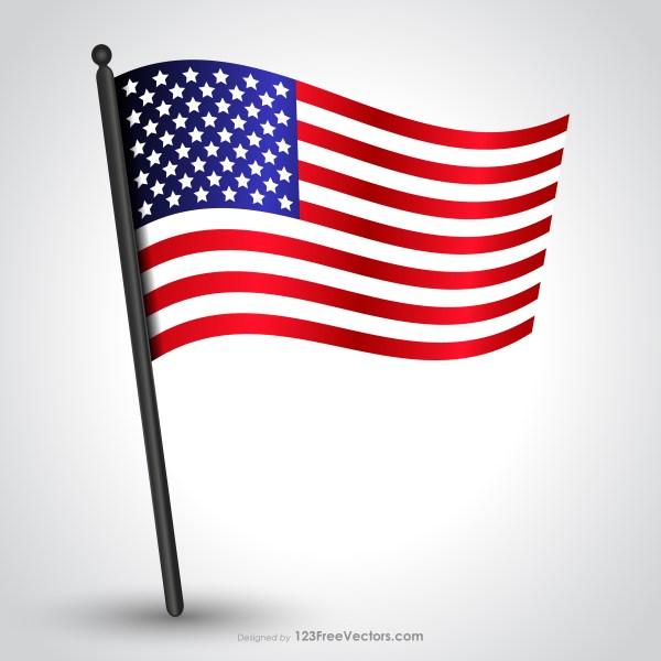 Waving American Flag on Pole Vector
