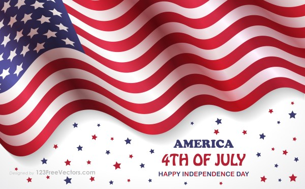 4Th of July Happy Independence Day Background with Waving American Flag