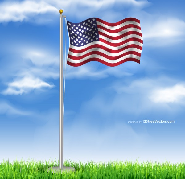 Flying American Flag on Cloudy Blue Sky Background