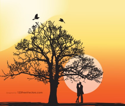 Romantic Couple Under a Tree Vector