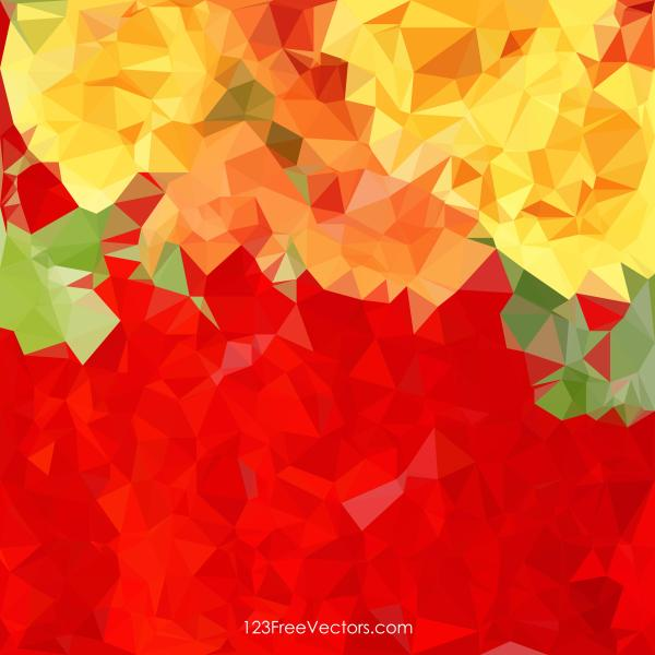 Red Yellow Geometric Polygon Background Free