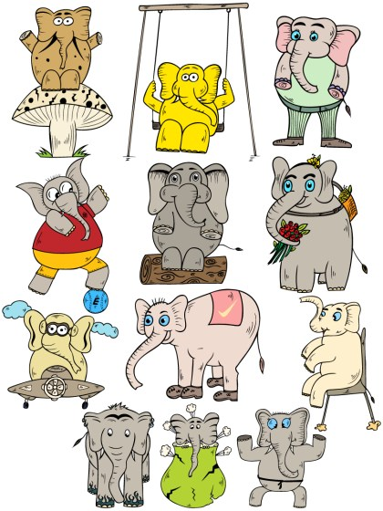 Cartoon Elephant Vector and Photoshop Brush Pack-01