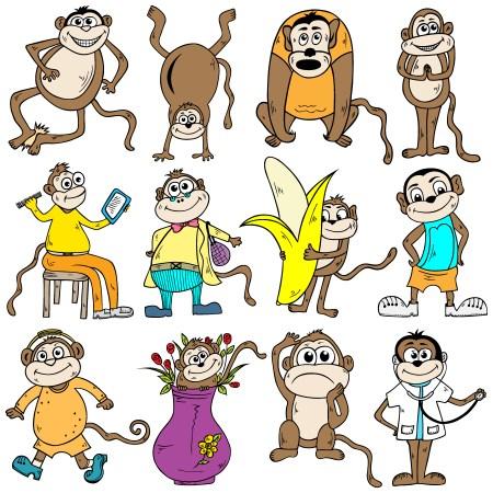 Cartoon Monkeys Vector and Photoshop Brush Pack-01