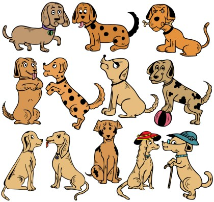Cartoon Dogs Vector and Photoshop Brush Pack-01