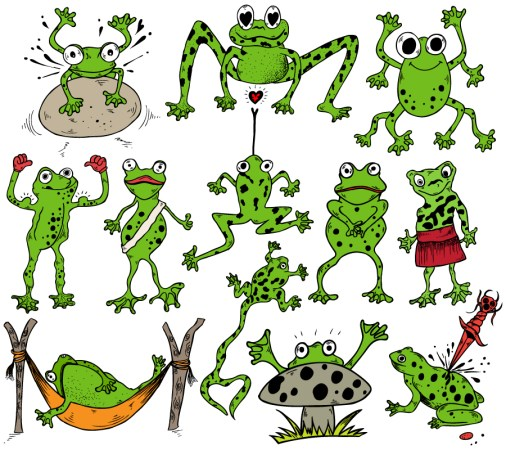 Cartoon Frogs Vector and Photoshop Brush Pack-01