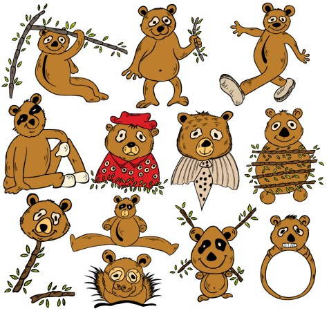 Cartoon Panda Bears Vector and Photoshop Brush Pack-01