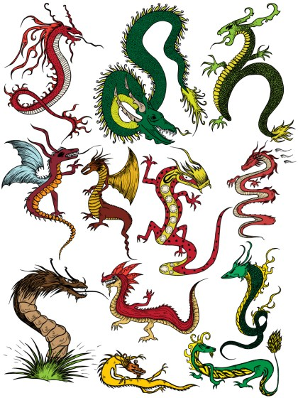 Dragon Vector and Photoshop Brush Pack-01