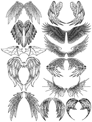 Hand Drawn Wings Vector and Photoshop Brush Pack-01