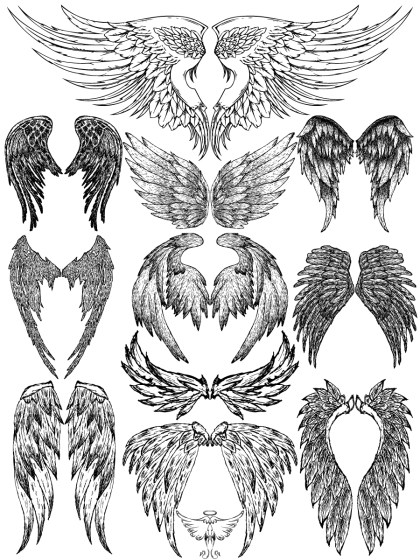 Hand Drawn Wings Vector and Photoshop Brush Pack-02