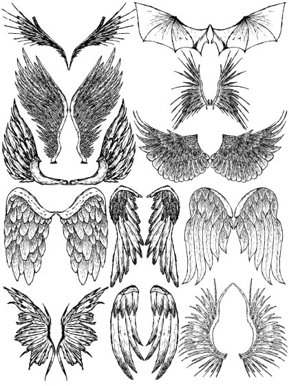 Hand Drawn Wings Vector and Photoshop Brush Pack-08