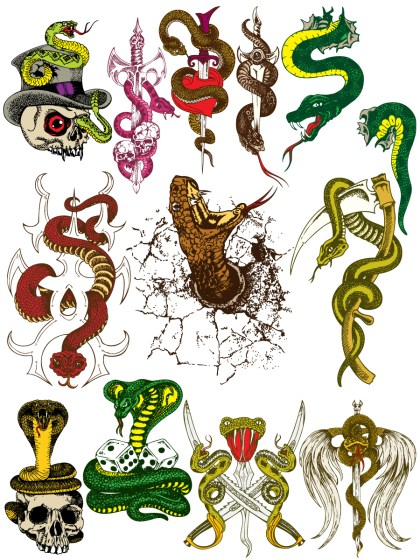 Hand Drawn Snakes Vector and Photoshop Brush Pack-01