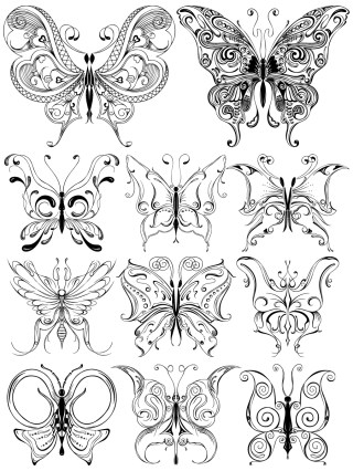 Hand Drawn Butterfly Vector and Photoshop Brush Pack-01