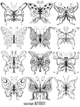 Hand Drawn Butterfly Vector and Photoshop Brush Pack-02