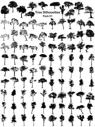 Tree Silhouettes Vector and Photoshop Brush Pack-01