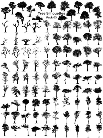 Tree Silhouettes Vector and Photoshop Brush Pack-03