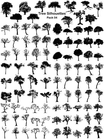Tree Silhouettes Vector and Photoshop Brush Pack-04