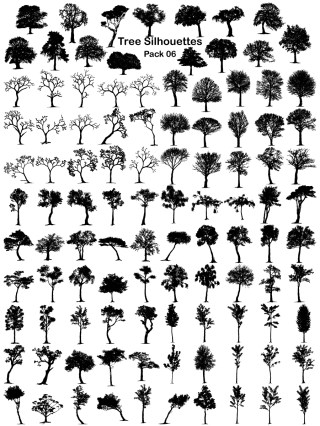 Tree Silhouettes Vector and Photoshop Brush Pack-06