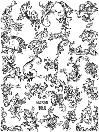 Hand Drawn Floral Vector and Photoshop Brush Pack-02