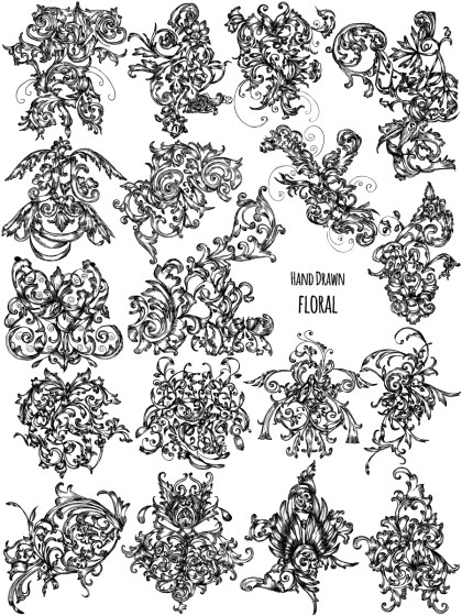 Hand Drawn Floral Ornaments Vector Brush Pack-02