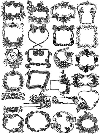 Hand Drawn Floral Text Frame Vector Brush Pack-02