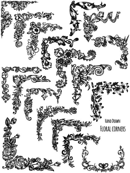 Hand Drawn Floral Corners Vector and Photoshop Brush Pack-01