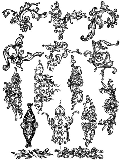 Hand Drawn Floral Corners Vector and Photoshop Brush Pack-03