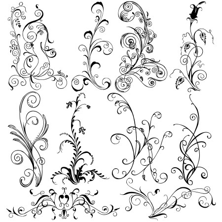 Hand Drawn Floral Vector Brush Pack-01