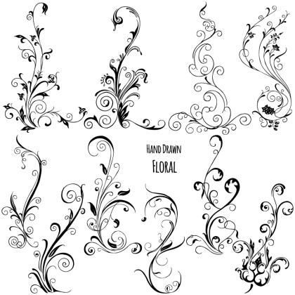 Hand Drawn Floral Vector Brushes Pack-01
