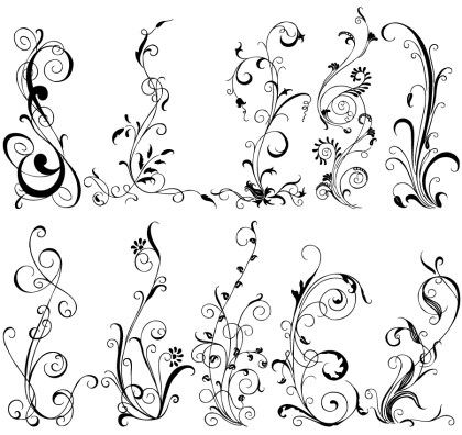 Hand Drawn Decorative Floral Vector Brushes Pack-01