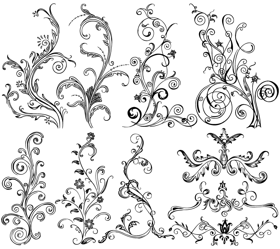 Hand Drawn Decorative Floral Vector Brushes Pack-02