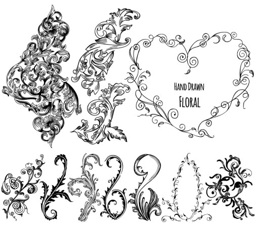 Hand Drawn Decorative Floral Vector Pack-01